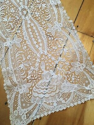 Gorgeous Antique Lace Runner Figural Cotton Netting 1920s-1940s #k3