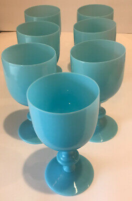 Art Deco Seven Portieux Vallerysthal French Opaline Blue Glass Water Goblets