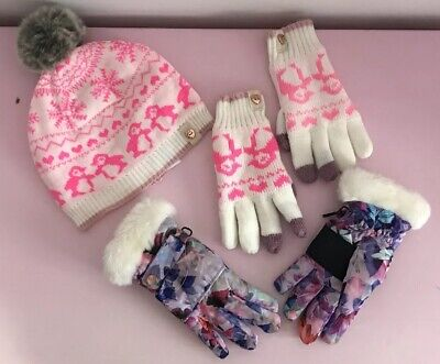 Girls Ted Baker Hat Gloves Set 7 8 9 10 Years