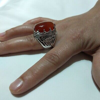 Ancient Victorian Silver Ring Red Royal  Agate Stone Rare Antique Old vintage