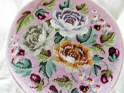 GORGEOUS Vintage Hand Crafted Needlepoint Pillow Round Roses Petit Point Pink