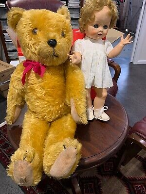 """""""DEANS"""" BEAR and """"PEDIGREE"""" DOLL, BOTH """"MADE IN ENGLAND"""" togetrher for 65 years"""