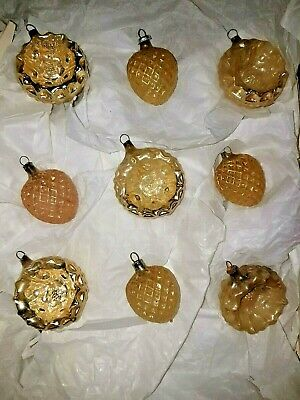 Antique Glass German Feather Tree Figural Embossed Ornaments Germany