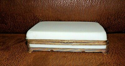 Antique French White Opaline & Brass Casket / Jewelry Box in Rare Size