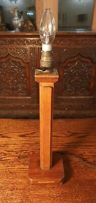 A Tall Art Deco English Carved Wooden Oak Column Table Lamp Circa 1920s