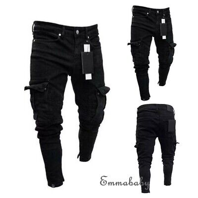 Mens Ripped Jeans Pants Skinny Slim Fit Biker Frayed Distressed Denim Trousers