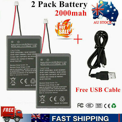 2x 2000mAh Rechargeable Battery + Charging Cable for PS4 Pro Game Controller  AU
