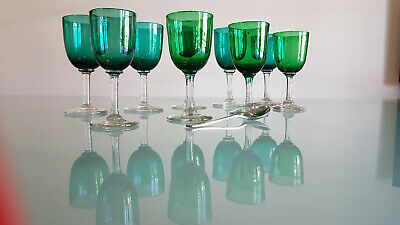 9 Victorian Wine Glasses, Bristol Green, Variations In Size As You Would Expect.
