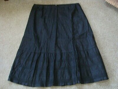 Antique Victorian 1880s Black Cotton Skirt or Pettitcoat LARGE Draw string waist