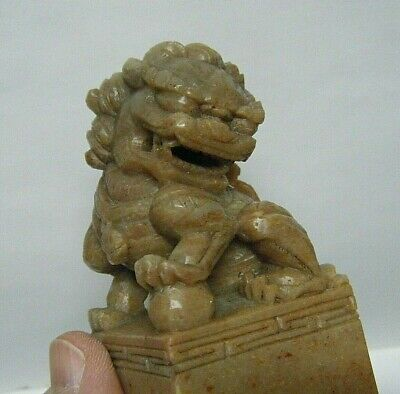 Vtg Chinese Foo Dog Lion Stamp Figurine Hand Carved Red Soap Stone Seal Stamp