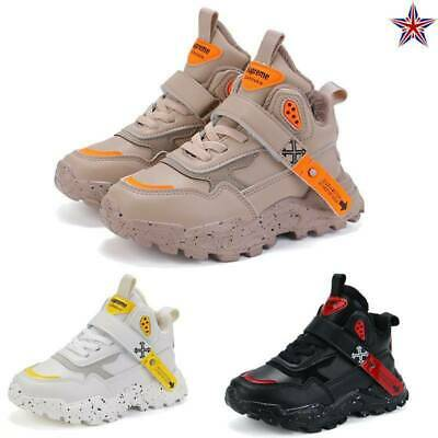 Kids Boys Girls Winter Warm Fur Lined Shoes Ankle Boots Sports Trainers Athletic