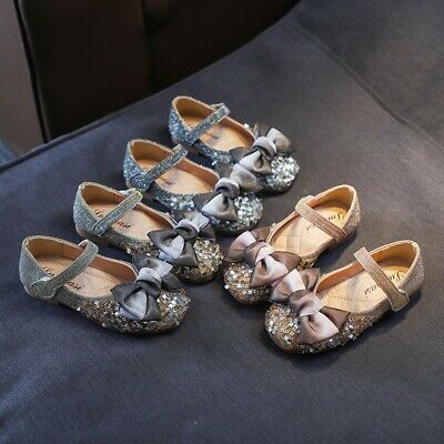 Children Kids Baby Girls Bow Crystal Bling Single Princess Dance Casual Shoes F4