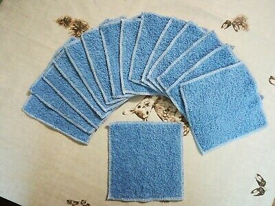 15 Washable Reusable Baby Wipes Bamboo Terry Mid-Blue