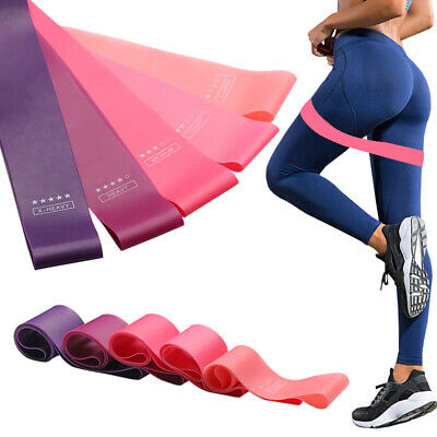 Heavy Duty Resistance Hip Circle Bands Latex Glutes Set of 5 Exercise Loop Band
