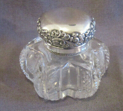 Antique Inkwell Silverplate Cut Glass