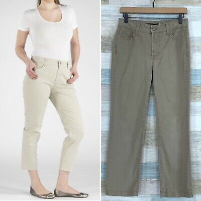 NYDJ Audrey Chino Ankle Pants Beige High Rise Straight Leg Stretch Womens 4