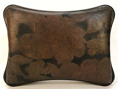 Antique Art Nouveau Floral Leather Top Foot Stool Ottoman