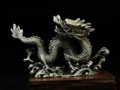China old handmade cooper-plating silver Dragon play pearl sculpture statue