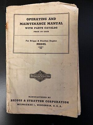 Vintage Briggs & Stratton Model 5S Gas Engine Operating & Maintenance Manual