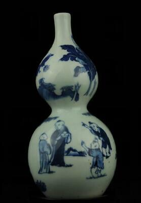 chinese old blue and white porcelain hand painted child cucurbit vase /Db01J