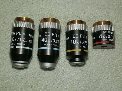 Nikon BE Plan Infinity Microscope Objectives - 100x 40x 10x 4x  -- OIL  --