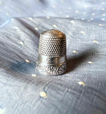 Antique Simons Bros.sterling Thimble  Decorative Band Monogramed- Size 12