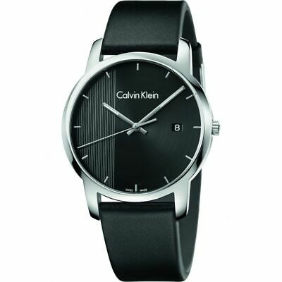 Calvin Klein Men's City K2G2G1C1 43mm Black Dial Leather Watch