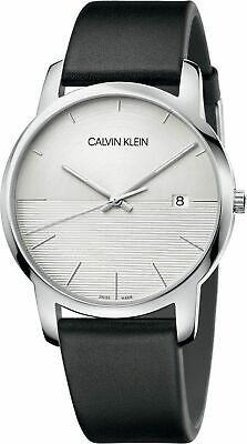 Calvin Klein Men's City K2G2G1CD 43mm Silver Dial Leather Watch