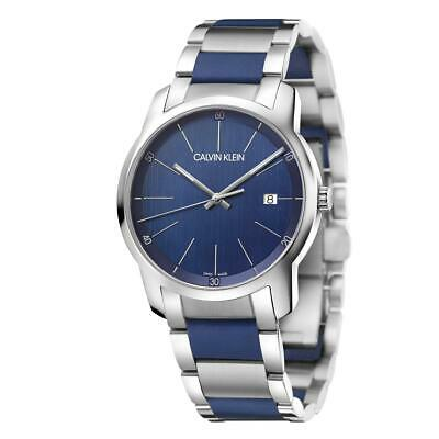 Calvin Klein Men's City K2G2G1VN 43mm Blue Dial Stainless Steel/Silicone Watch