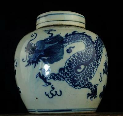 collection chinese old blue and white porcelain hand painted dragon pot / c01J