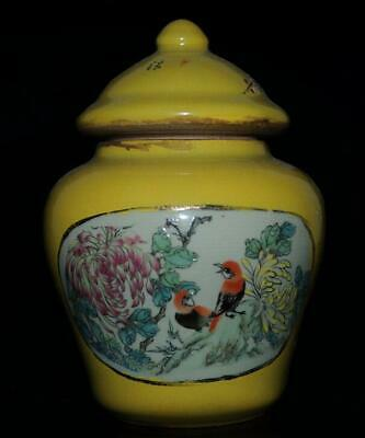 Old chinese yellow glaze porcelain hand-made chrysanthemum and bird jar /Db02J