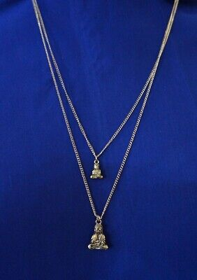 """Gold-tone/Brass metal double Chain 24"""" Necklace with Buddha pendants AC25D-6/22"""