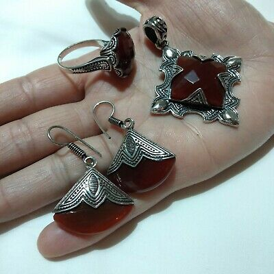 Ancient Antique Victorian Silver Ring Necklace Earrings Red Agate Stone Vintage