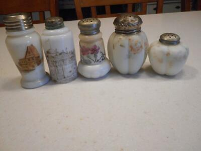 5 Old Victorian Handpainted Glass Muffiner Shakers