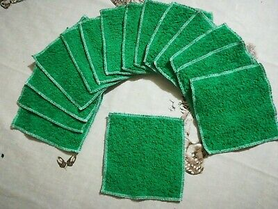 15 Washable Reusable Baby Wipes Cotton Terry Dark Green