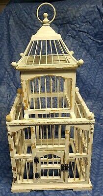 "Vintage Wood Bird cage Hinged Door Removable Bottom 24"" x 12"" decorative wedding"