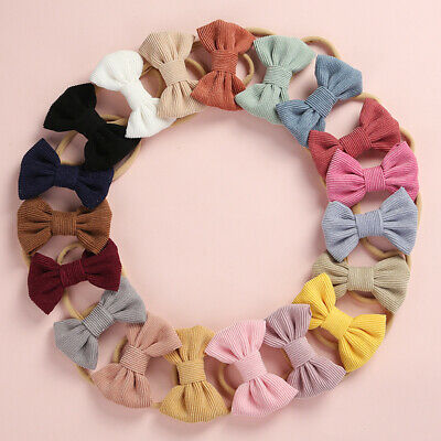 Baby Girls Bow Nylon Headband Super Soft Corduroy Hairband Newborn Hair Rope Tie