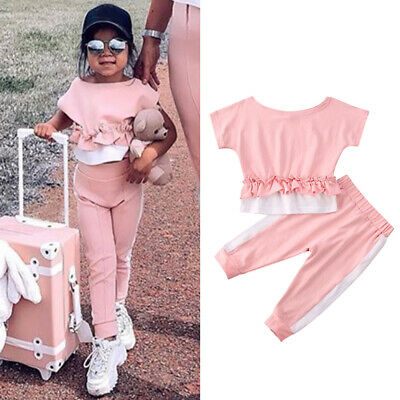 2PCS Toddler Kids Baby Girl Clothes Ruffle Tops+Pants Leggings Outfit Tracksuit
