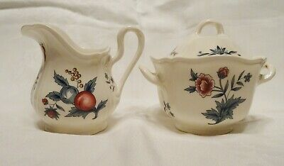 WEDGWOOD Williamsburg POTPOURRI Cream Pitcher and Covered Sugar Bowl