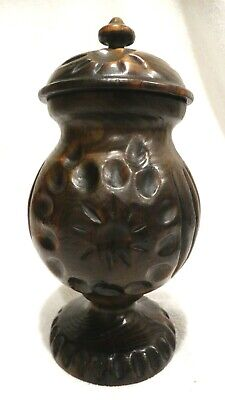 """Vintage African Hand Carved  Tree Trunk 11"""" Tall Covered Urn"""