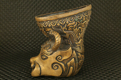 chinese old bronze cow statue collectable cup wine glass vase decoration