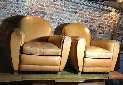 Beautiful french pair of leather club chairs retro mid century