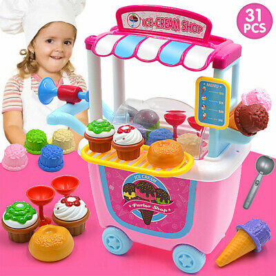 Cute Kids Simulation Ice Cream Shop Dresser Cart Pretend Toy Set Role play Gift