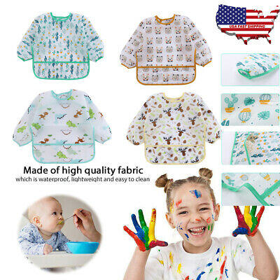 NEW Baby Toddler Kids Waterproof Long Sleeve Bibs Apron Cartoon Feeding Smock US