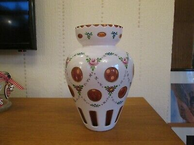Bohemian Red Glass Vase with Opaque Overlay & Hand Painted Decoration