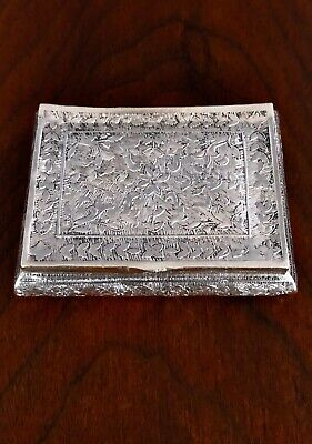 - Indian Silver Snuff Box With Richly Chased Floral Decoration To Lid & Sides