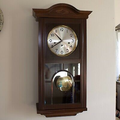 German 'Franze Hermle' 8-Day Mahogany Case Wall Clock with Westminster Chimes