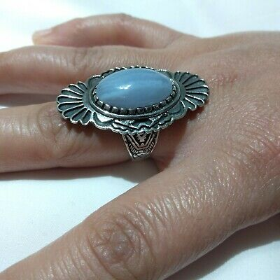 Ancient ANTIQUE Victorian Silver Ring Natural AGATE Gemstone Old Rare Vintage