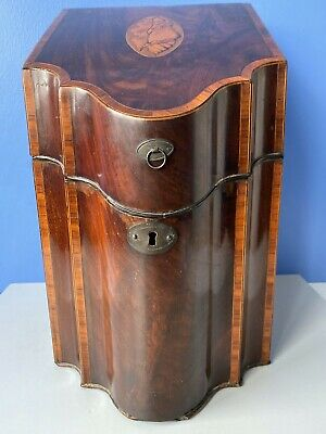 Antique George III Mahogany and Inlaid Conch Shell Knife Box