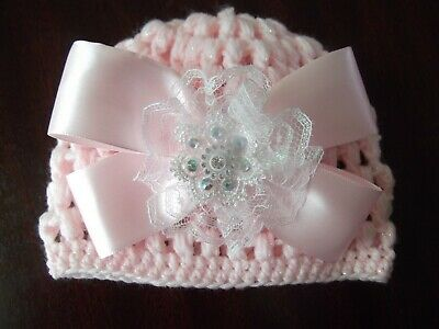 Romany / Spanish Bling hand crochet Baby Girls pink sparkle  Beanie  0-3 mths.